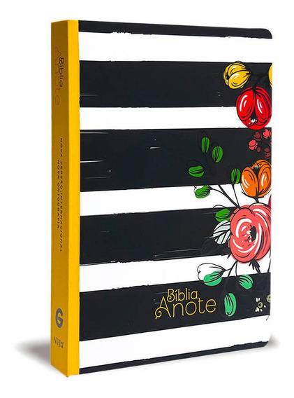 Bíblia Anote Listrada Flores Nvi Com Espaço Para Anotações