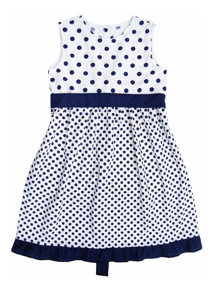 Vestido Nena Tela Batista 12-14-16 Lunares Azules