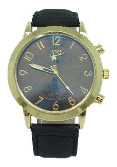 Relógio Dourado Com Pulseira De Couro Preto