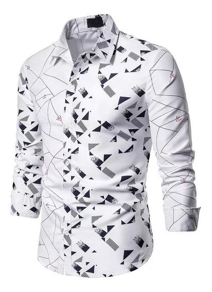 Camisa De Manga Larga Estampada Casual Para Hombre