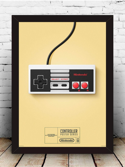 Poster Quadro Controle Nitendo Moldura Com Vidro 35x45 Cm #2