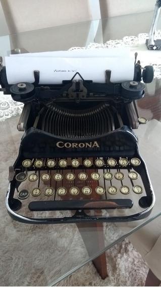 Maquina De Escrecer Antiga Corona 1917 Funcionando