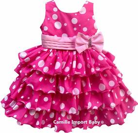 Vestido Festa Infantil Luxo Minnie Rosa Pink Babados E Tiara