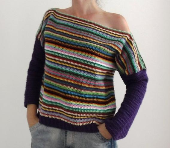 Suéter Multicolor Tejido A Crochet Estilo Hombro Caído