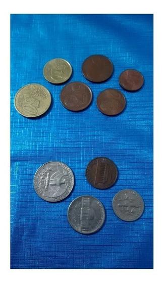 Moedas Euro E Dólar Antigo Numismática Coleção Kit 10 Pç