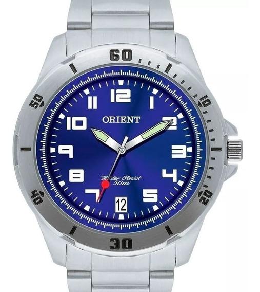 Relógio Orient Masculino Mbss1155a Aço Prateado Fundo Azul