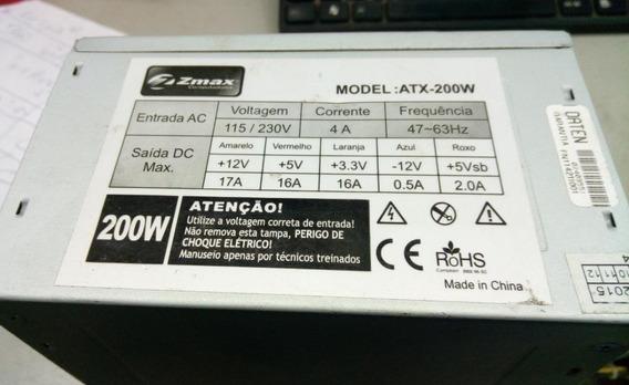 Fonte Atx 24 Pinos + Sata Zmax Computadores Atx-200w