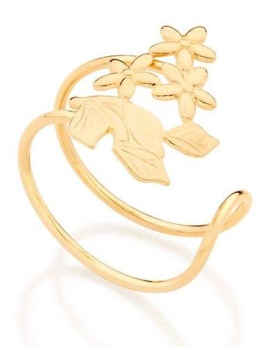 Anel Folheado A Ouro Rommanel Ajustável Com Flores 512778