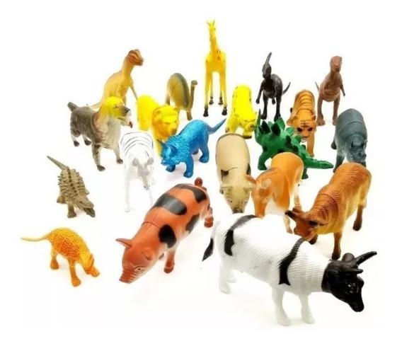 Kit 20 Animais De Brinquedo Miniaturas Zoo Fazenda Dino