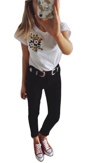 Jeans Mujer Tiro Alto Chupin Rotos Calce Perfecto Pack X 2