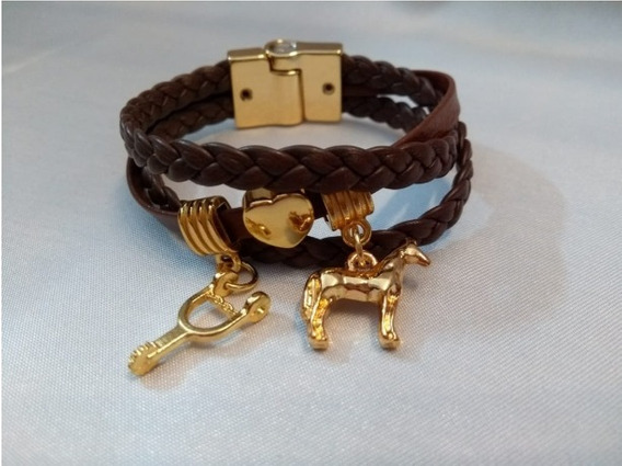 Pulseira Bracelete Flor De Lis Com Couro Semi Joia Numero 16