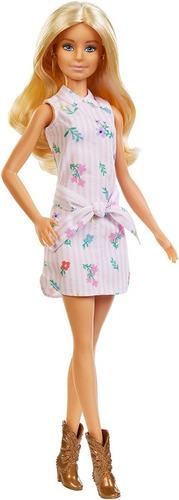 Boneca Barbie Fashionista 119 Loira Vestido Rosa Nova 2019