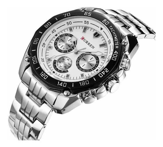 Relógio Curren Masculino Importado Original 8077 Em Aço Inox