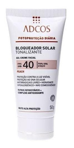 Adcos Filtro Solar Tonalizante Fps 40 Gel Creme Peach 50g