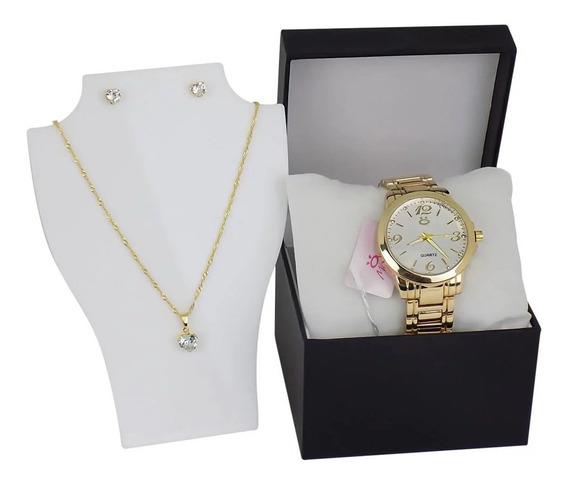 Relógio Feminino Original Orizom Dourado + Brinco E Colar