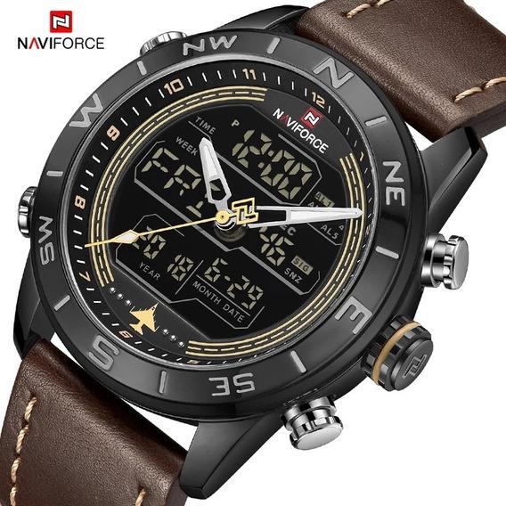 Relógio Luxo Masculino Naviforce Pulso Social Pulseira Couro