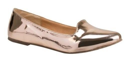 Zapatos Casuales Pink De Dama 9607 Tipo Espejo Oro Rosa
