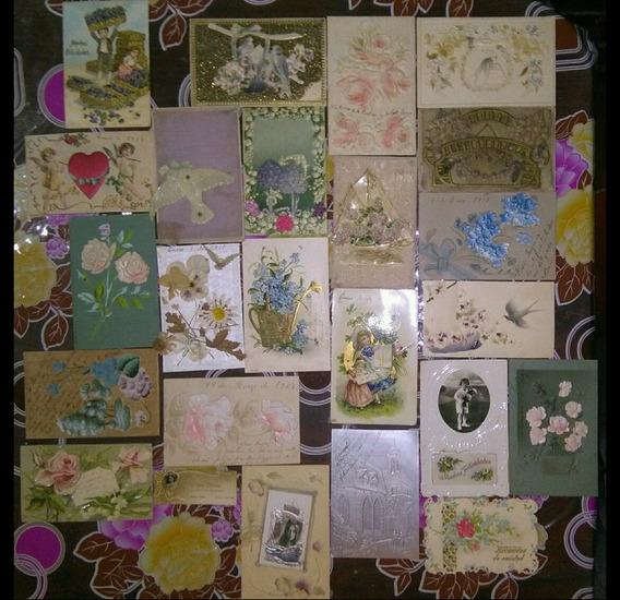 Lote 23 Tarjetas Postales Antiguas Con Relieve Y Bordadas