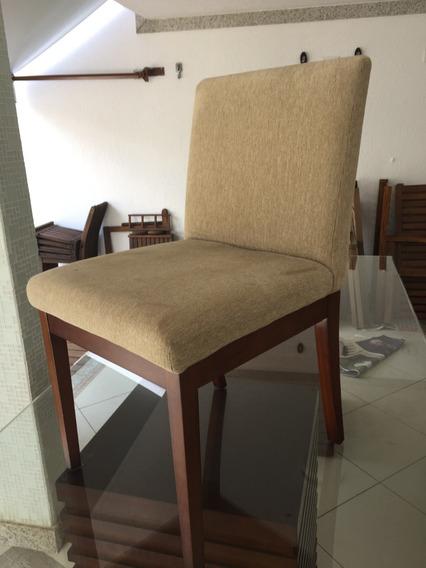 Cadeiras Sala Jantar (cjt 8pcs) Madeira Estofadas Camurça