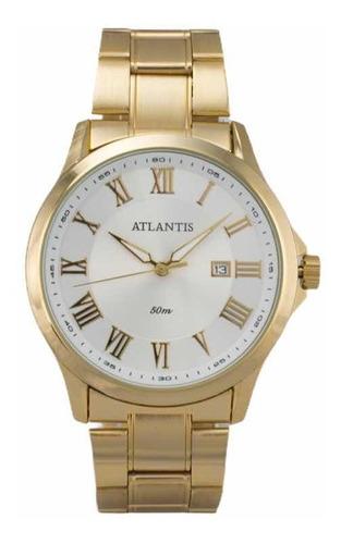 Relógio Atlantis Original Feminino Masculino Dourado Social