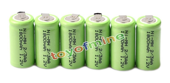 6 Bateria Recarregável Ni-mh 1.2v 1800mah 2/3aa C/terminal