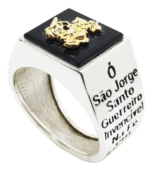 Anel São Jorge Prata 950 E Ouro 18k Com Pedra Onix