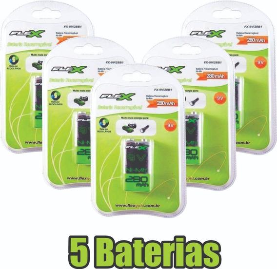 Kit 5x Baterias Pilha Recarregável 9v 280mah Flex Original