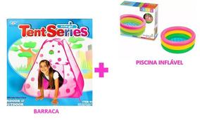 Toca -barraca Rosa Menina + Piscina Inflável Envio Imediato