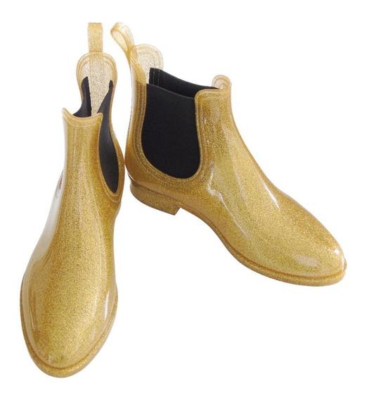 Bota Tipo Botin De Pvc Dorado Escarchado Zapato
