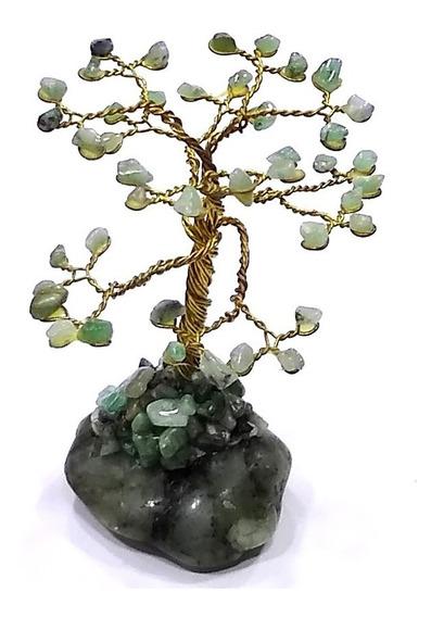 Árvore Da Felicidade Pedra Natural Esmeralda 7cm Boa Sorte