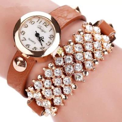 Relógio De Luxo De Couro Com Diamante