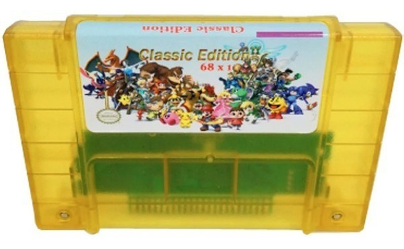 Cartucho Fita Super Nintendo Donkey Kong Trilogia 68 Jogos