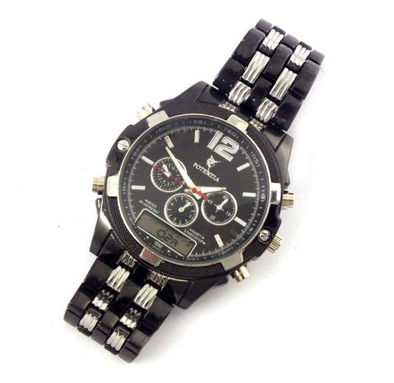 Oferta Relógio Pulso Masculino Potenzia Prata E Preto B5647