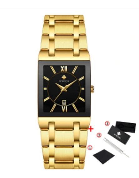 Wwoor Relógio De Pulso Masculino Dourado Lindo Moda 2020