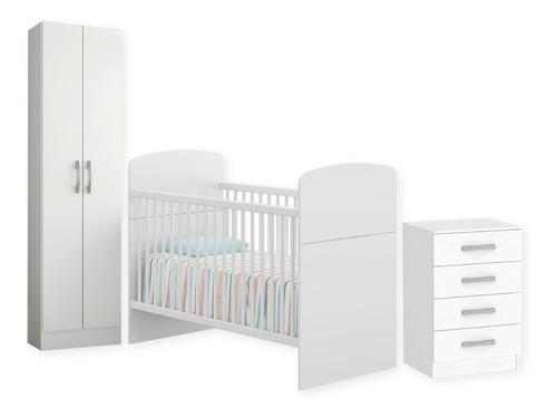 Dormitorio Bebe Infantil Cuna Multiuso Dos Puertas Cajonera