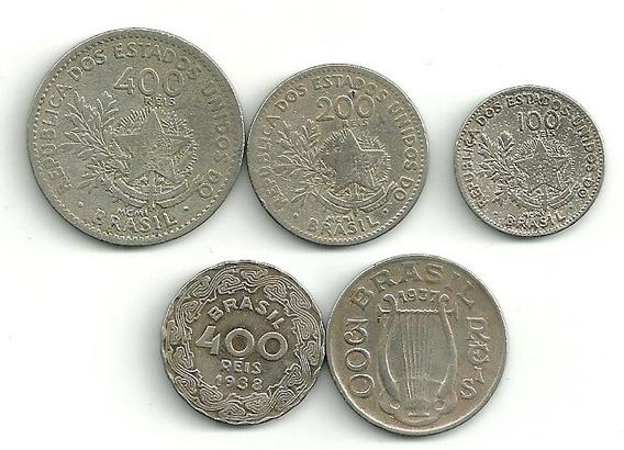 300 Réis 1937 + 5 Cruzeiros Reais 1994 + 33 Moedas Nacionais