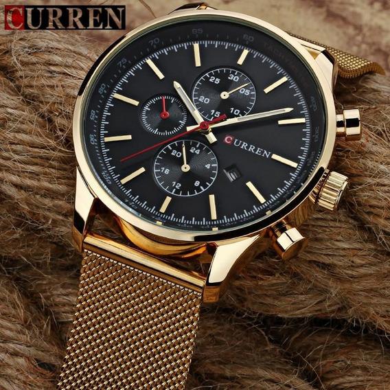 Relógio Masculino Dourado De Pulso Curren 8227 Quartzo
