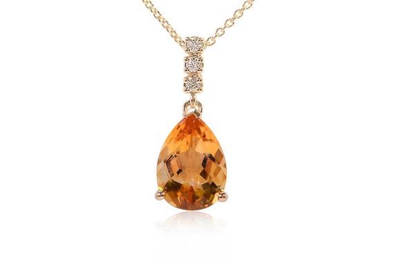 Gargantilla Citrino Con Diamantes En Oro 18k (34415)
