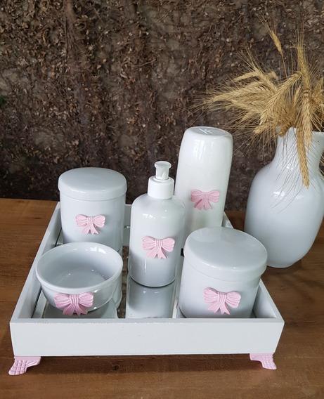 Kit Higiene Bebê Porcelana Mdf Temas Rosa Garrafa Térmica