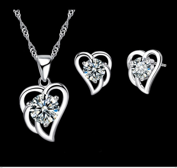 Set Collar Y Aretes Baño Plata 925, Corazon Sweet Love