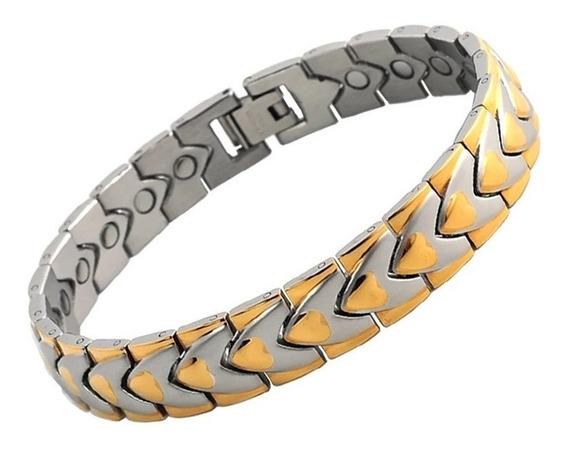 Pulseira De Aço Magnética Prata Coração Dourado