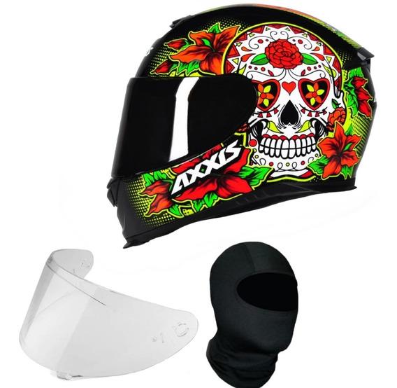 Capacete Axxis Skull Caveira Vermelho + Viseira Fume