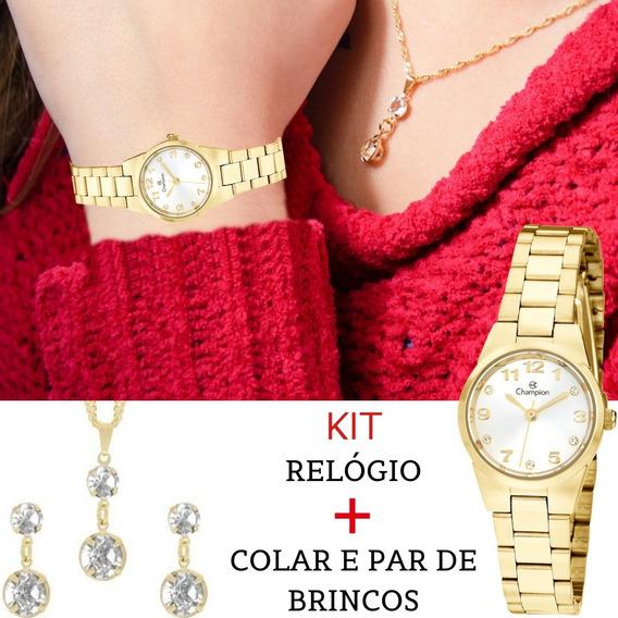 Relógio Feminino Champion Pequeno Kit Colar E Brincos Ch26846w