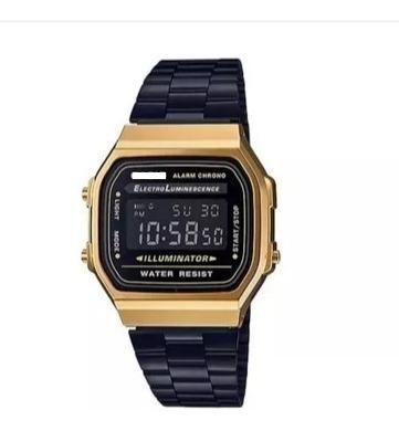 Relógio Pulso Preto Dourado Unisex Retrô Original Promoção