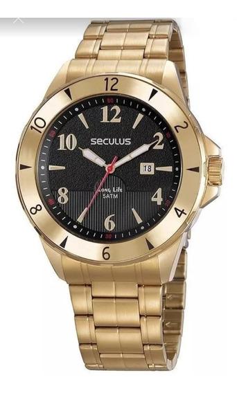 Relógio Séculos Masculino Analógico Dourado + Brinde