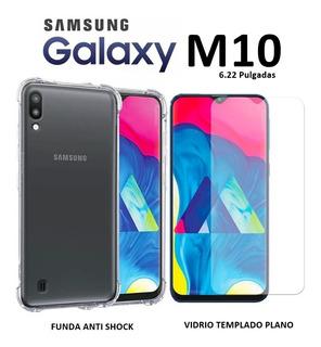 Funda Anti Shock + Templado Plano Samsung Galaxy M10 Rosario