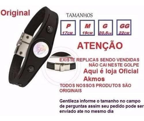 Braceletes Pulseira Akmos P Preta Magnéticos E Terapeutica ,