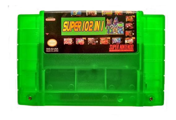 Cartucho Super Nintendo Trilogia Donkey Kong Mário 102 Jogos