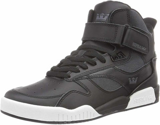 Tenis Supra Bleeker Black Charcoal White Leather Skate Bota