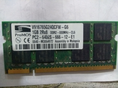 Memoria Ddr2 Sodimm  1 Gb 800 Mhz Notebook